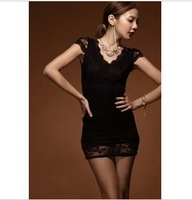 JK1309  Free Shipping  Women  2013 Summer  Lace  Sexy  Short  Sleeve Dress