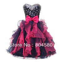 Colorful Short! Free Shipping grace karin Stock Strapless Organza Sequins Sexy Cocktail Party Gown Short Mini Prom Dress CL4976