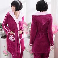 Winter sleepwear Women thickening flannel lounge with a hood coral fleece robe princess twinset