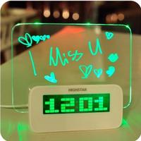 multifunctional luminous LED message board  electronic  alarm clock display temperature Christmas gift