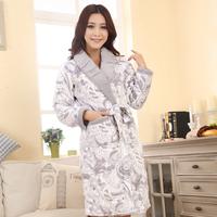 Mink velvet robe flannel at home service skirt autumn and winter bathoses lounge thickening sleepwear lovers bathrobe female