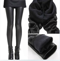 Slim matte faux leather thickening plus velvet  autumn and winter leather pants