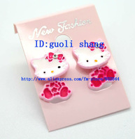 New Arrival 20 Pair Multicolor Simply Lovely hello KITTY Cat Earring Ear Stud Free shipping   008