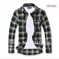 New men's long sleeve fashion leisure cotton plaid shirt 4 color 4 size 466