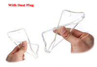 Hot Selling Transparent Soft TPU Clear Case Back Cover Shell with Dust Plug for Iphone5 5S, 200PCS/ Lot, Free Shipping