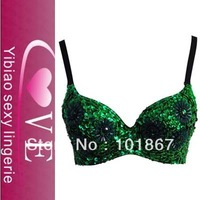 Floral Studded Bead and Sequin Bra Top Green