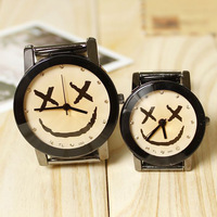 2013 Best selling new retro fashion personality smile Face steel couples lovers' watches steel watch High Quality #L05468