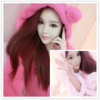 Autumn and winter rabbit ears thickening coral fleece thermal sweatshirt shaggier sleepwear robe