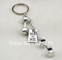 Free shipping rhodium  plated dumbbell with Me VS Me key chaincharms 10 pcs a lot