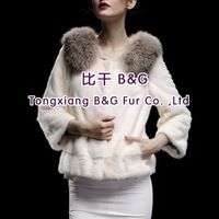 BG29693 Real Full Pelt  Mink Fur Jacket with Fox Fur Collar  Wholesale Retail mink fur Jacket