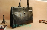 P p t0 sh0 black big stitch document brief women's handbag