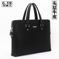 Male handbag genuine leather bag man commercial horizontal cowhide briefcase laptop bag messenger bag bag