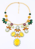 Free shipping Fashion fashion accessories neon color medium-long block luxurious necklace