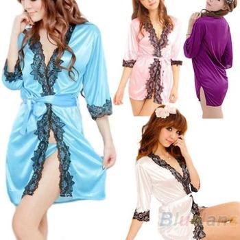 Сексуальное белье нижнее белье комплект искусственного шелка кружева работы пижамы ...