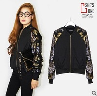 Hitz European and American three-dimensional gold sequined short sleeve crew neck sweater zipper jacket!