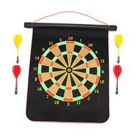 Two Sided Magnetic Magnet Dartboard Set Roll Up Bullseye Target 4 Darts