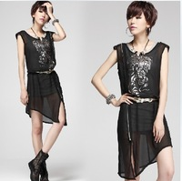 MZJL9138  Free Shipping Women 2013 Summer   Printed Chiffon Two-piece Fashion  Dress
