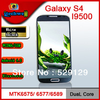 1:1 Galaxy S4 MTK 6589 Quad core 4.8inch IPS screen 8MP front&back camera android 4.2 ROM 4G 2SIM card slots ultra slim phone