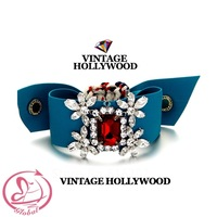 High Quality Female Fashion Accessories Vintage Hollywood Red Crystal Blue Ribbon Bracelet Crystal Bracelet For Woman