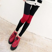 Female knee color block symmetrical decoration black and red ankle length trousers cotton yarn legging