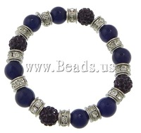 Free shipping!!!Dyed Marble Bracelet,Guaranteed 100%, with rhinestone pave bead & Elastic Thread & Brass, platinum color plated