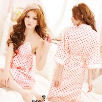 Autumn sexy sleepwear female lace temptation transparent summer lounge robe spaghetti strap nightgown twinset