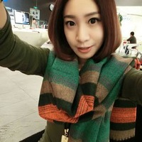 Autumn and winter thermal large cape color block lovers long design faux wide stripe tassel scarf