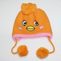 1pc Orange Cute Bird Baby kids Toddler Winter Warm Child Knitted Crochet Beanie Hat Cap Soft Inside New
