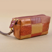 2013 New Fashion High quality Patchwork Genuine leather Mini Coin Purses Ladies Wallets Free shipping Sheegior
