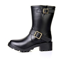 Free shipping Cool knee-high leopard print hasp women's rain boots motorcycle boots rainboots 3