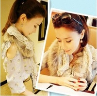 Asuk raccoon fur autumn and winter fur scarf cape women's winter