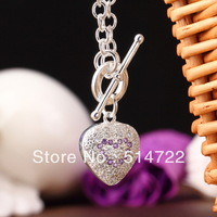 1pcs 925 Silver Plated Necklace Pendant Heart Stick Hollow Rhinestones Crystal sterling silver jewelry hot selling