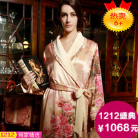 Free shipping Quality robe female thickening silk bathrobe silk sleepwear long-sleeve lounge set autumn and winter
