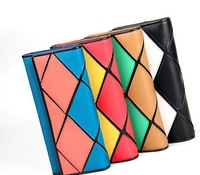 FREE SHIPPING!!2014NewFashion rhombus Contrast color Joining together pu leather long lady women wallets purse handbags bags