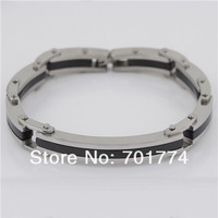 Punk Mens Top Stainless Steel Black Silver Tone Plain Block Link Chain Safety Clasp Bangle Bracelet Christmas Gift Jewelry