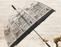 Transparent umbrella princess lace decoration umbrella structurein straight