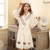 Autumn and winter women's 100% cotton robe winter women's bathrobes sleepwear 100% cotton towel fabric thickening lounge