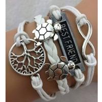 "SL31201 Free shiping ! Romantic wax string chain bracelet, ""Best friend"" , turtle and tree pendant, 6pcs / lot"