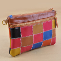 Shopping festival 2013 New Fashion High quality colored Plaid Genuine leather Zip Mini Ladies Wallets Free shipping !