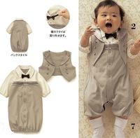 Gentleman baby suit/Baby romper with bowknot + vest/Autumn hot style