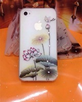 Fashion jewel flower  3D  Case + protective film  For Iphone 5 5S,  for  Free shipping