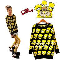 Fashion Bart Simpson Pullover sweater women clothing Cartoon autumn/winter character sweater loose outerwear   Free shipping