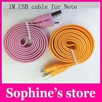 Wholesale! 1M USB Cable For Note 3 Flat Noodle USB3.0 Data Charging Cable For Samsung Galaxy Note 3+free shipping EMS/DHL