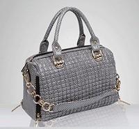 The new snakeskin grain one shoulder fashionable joker laptop vintage handbag bag leather genuine  women bag