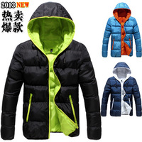 Men down coat male short design with a hood teenage slim down coat outerwear thermal thickening