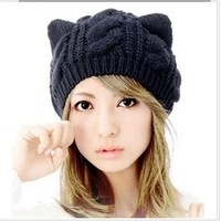 Hat women's winter wool beret knitted hat knitted hat HARAJUKU cat ears