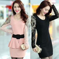 2013 new long sleeve dress plus size basic slim hip skirt thickening ol elegant one-piece dress female pink black new arrival