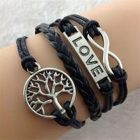 "SL31208 Free shiping ! Fashion 2014 weave bracelet, black leather bracelets ,""Love"" letter 6pcs / lot"