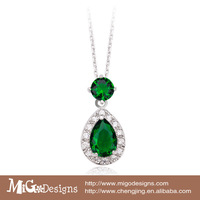 Fashion 18K White Golg Plated AAA Zirconia Teardrop Pendant Green Emerald Necklace
