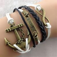"SL31205 Free shiping ! Classic wax string weave bracelet, ""anchor"" bracelets ,copper plated,lether pendant bracelets,6pcs / lot"